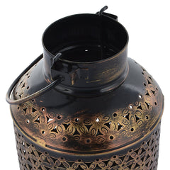 Indian Iron Golden Big Bucket Tealight Candle Holder Handmade Gift Item For Home Decor Pink City Showpiece