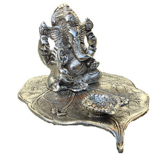Indian Oxidized Silver White Metal Leaf Lord Ganehsa Handmade Gift Item For Home Decor Pink City Showpiece
