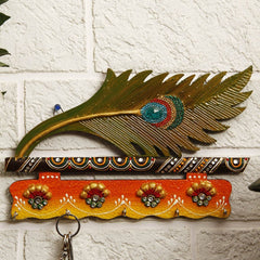 Hand Crafted Indian Wooden Paper Mache Mor Pankhi Key holder Handmade Gift Item For Home Decor Pink City Showpiece