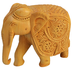 "Rajasthani Wooden Hand Carved  5"" Trunk Down Elephant Handmade Gift Item For Home Decor Pink City Showpiece"