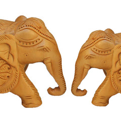 "Rajasthani Wooden Hand Carved  3"" and 4"" Trunk Down Elephant Handmade Gift Item For Home Decor Pink City Showpiece"