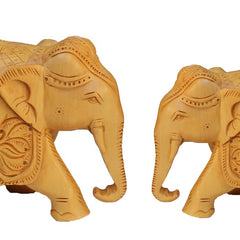 "Hand Crafted Rajasthani Wooden Hand Carved  4"" and 5"" Trunk Down Elephant Handmade Gift Item For Home Decor Pink City Showpiece"
