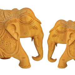"Rajasthani Wooden Hand Carved  5"" and 6"" Trunk Down Elephant Handmade Gift Item For Home Decor Pink City Showpiece"