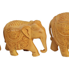 "Hand Crafted Rajasthani Wooden Hand Carved  3"", 4"" and 5"" Trunk Down Elephant Handmade Gift Item For Home Decor Pink City Showpiece"