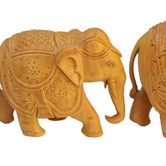 "Rajasthani Wooden Hand Carved  4"", 5"" and 6"" Trunk Down Elephant Handmade Gift Item For Home Decor Pink City Showpiece"