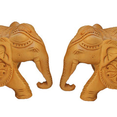 "Hand Crafted Rajasthani Wooden Hand Carved  3"" Trunk Down Elephant Set Of 2 Handmade Gift Item For Home Decor Pink City Showpiece"