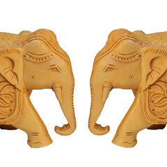 "Hand Crafted Rajasthani Wooden Hand Carved  4"" Trunk Down Elephant Set Of 2 Handmade Gift Item For Home Decor Pink City Showpiece"