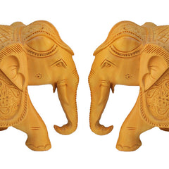 "Rajasthani Wooden Hand Carved  5"" Trunk Down Elephant Set Of 2 Handmade Gift Item For Home Decor Pink City Showpiece"