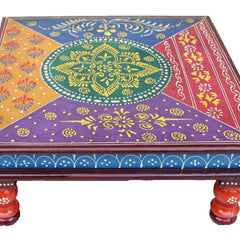 Hand Crafted Indian Wooden Chowki   Handmade Gift Item For Home Decor Pink City Showpiece