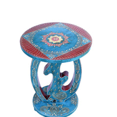Hand Crafted Indian Wooden Blue Top Designer Stool Handmade Gift Item For Home Decor Pink City Showpiece