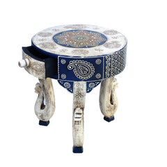 Hand Crafted Indian Wooden Elephant Stool Handmade Gift Item For Home Decor Pink City Showpiece
