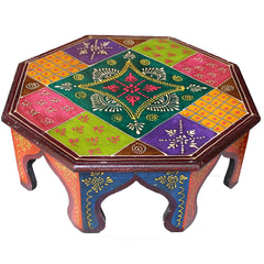 Hand Crafted Indian Wooden Octagonal Chowki Medium Handmade Gift Item For Home Decor Pink City Showpiece