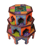 Hand Crafted Indian Wooden Octagonal Chowki Set Handmade Gift Item For Home Decor Pink City Showpiece