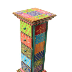 Handmade Indian Wooden Side Drawer 5 Handmade Gift Item For Home Decor Pink City Showpiece