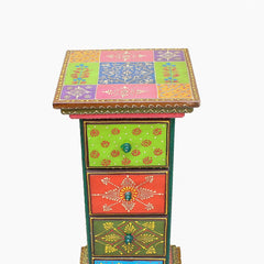 Indian Wooden Side Drawer 4 Handmade Gift Item For Home Decor Pink City Showpiece