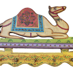 Hand Crafted Indian Wooden Camel Key Holder Handmade Gift Item For Home Decor Pink City Showpiece
