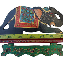 Hand Crafted Indian Wooden Elephant Key Holder Handmade Gift Item For Home Decor Pink City Showpiece