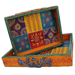 Indian Wooden Serving Trays Set Of 2 Handmade Gift Item For Home Decor Pink City Showpiece