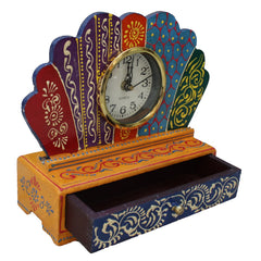 Indian Wooden Table Drawer With Designer Clock Handmade Gift Item For Home Decor Pink City Showpiece
