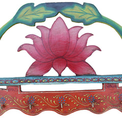 Indian Wooden Lotus Key Holder Handmade Gift Item For Home Decor Pink City Showpiece