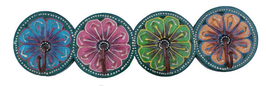 Hand Crafted Indian Wooden 4 Round Shaped Hooks Handmade Gift Item For Home Decor Pink City Showpiece