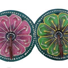 Indian Wooden 4 Round Shaped Hooks Handmade Gift Item For Home Decor Pink City Showpiece