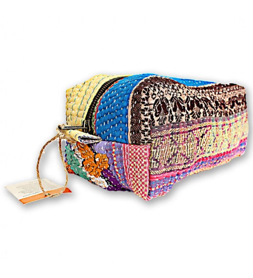 TRAVEL FRIENDLY HAND QUILTED TOILETRY BAG
