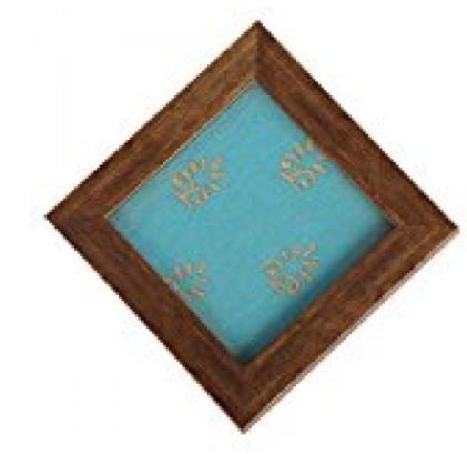 WOOD WITH FANCY BLUE CLOTH DECORATIVE TRAY