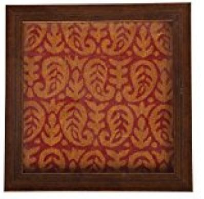 WOOD WITH FANCY RED WITH GOLD CLOTH DECORATIVE TRAY