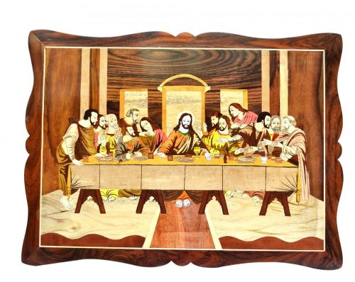 WOODEN LORD SUPPER FRAME CUT OUT WALL PANEL