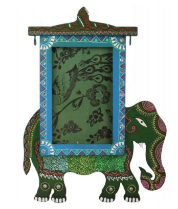 WOOD ELEPHANT HOLDING PHOTO FRAME