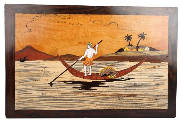 BOAT WITH 1 MEN WOOD WALL HANGING