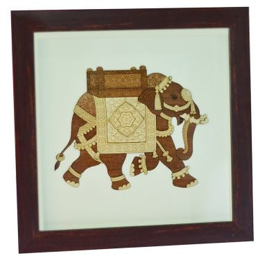 WOODEN ELEPHANT DECORATE FRAME