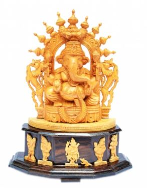 WHITE WOOD CARVED GANESHA WITH ROSE WOOD BASE