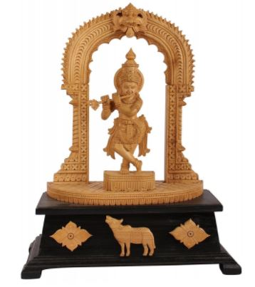 WOOD CARVED KRISHNA IDOL