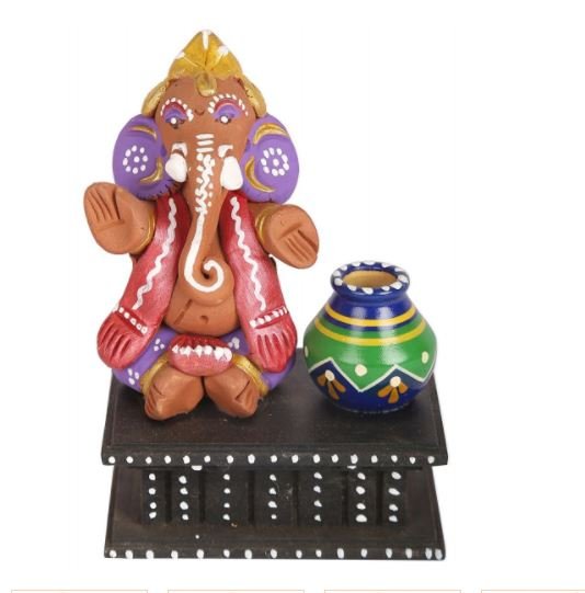 CLAY VEENA GANESHA IDOL