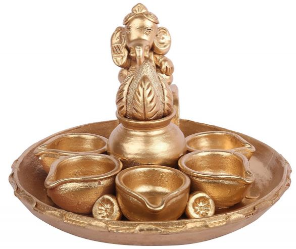 CLAY KALASHA GOLD DEEPA