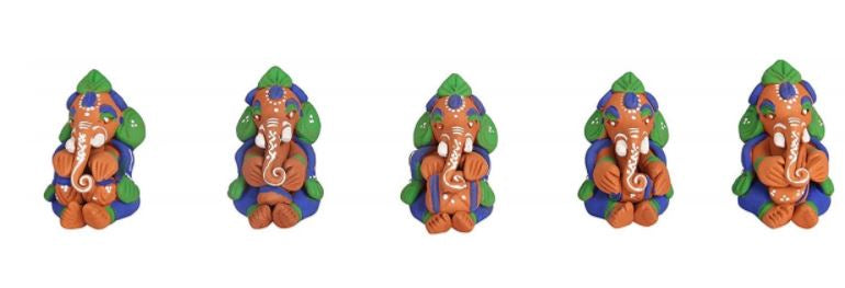 CLAY MUSCIAN GANESHA IDOLS SET OF 5