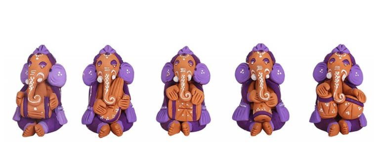 CLAY PURPLE MUSCIAN GANESHA IDOLS SET OF 5