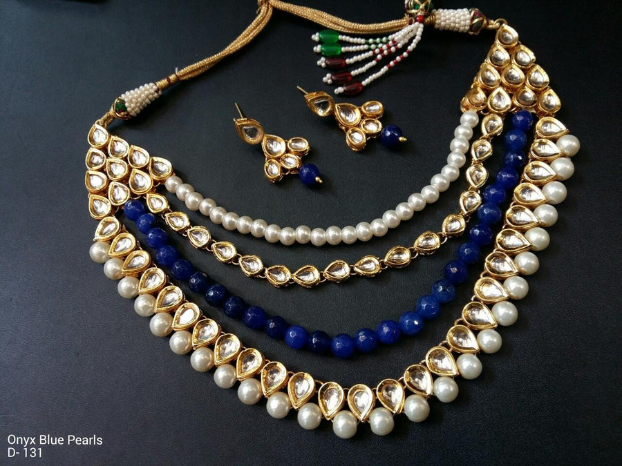 Gold Plated Kundan Nekclace With Earrings