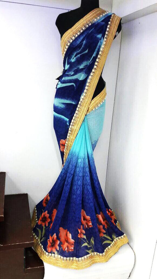 Georgette With Pitha Work Saree
