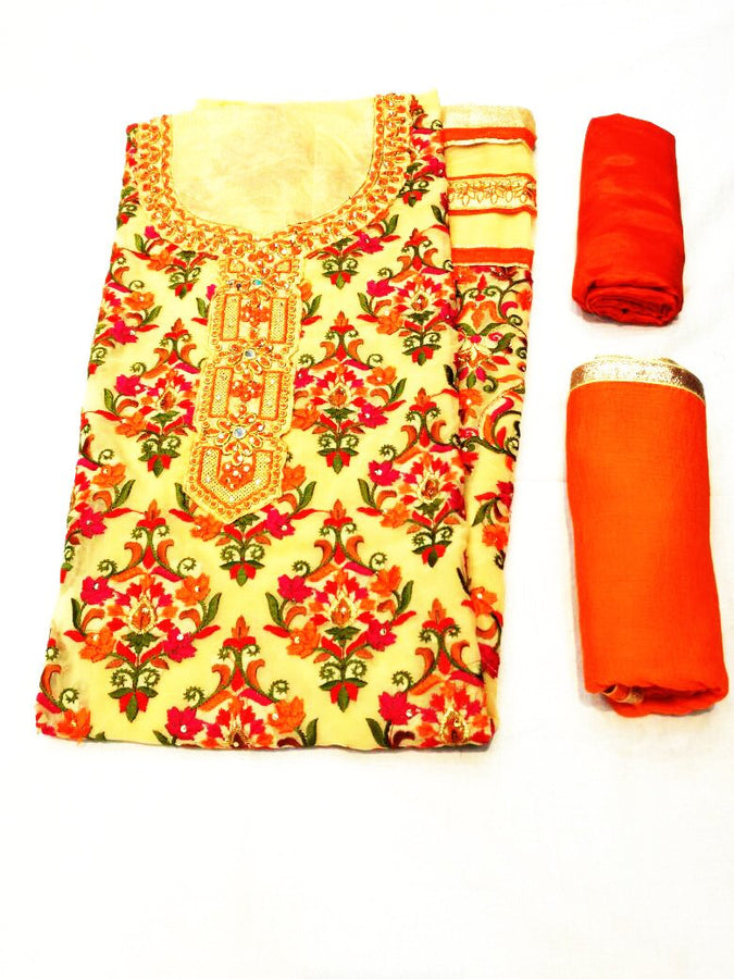 Suit Material With Kashmiri Work