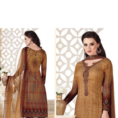 Indian Women Designer Party wear Golden &  brown Anarkali Salwar Kameez