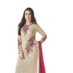 Indian Women Designer Party wear Cream Anarkali Salwar Kameez