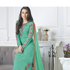 Indian Women Designer Party wear Sky Green Anarkali Salwar Kameez