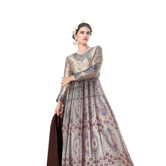Indian Women Designer Party wear Shine Gray Anarkali Salwar Kameez