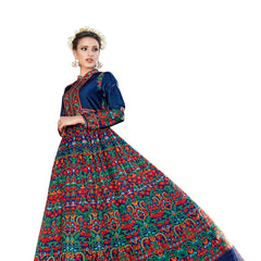Indian Women Designer Party wear Blue & multi Anarkali Salwar Kameez