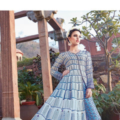 Indian Women Designer Party wear Sky blue Anarkali Salwar Kameez