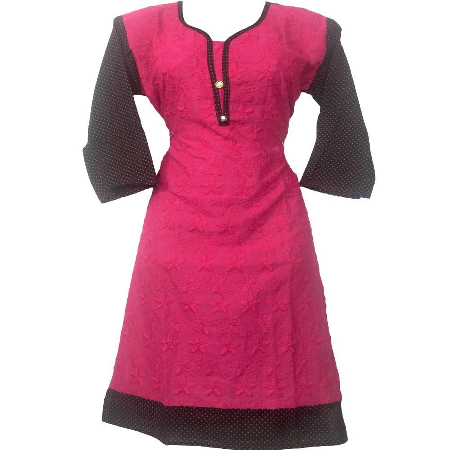 Pink and Black Printed Kurti