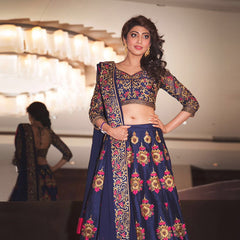 New Latest Designer Blue Floral Embroidered Work Lehenga Choli